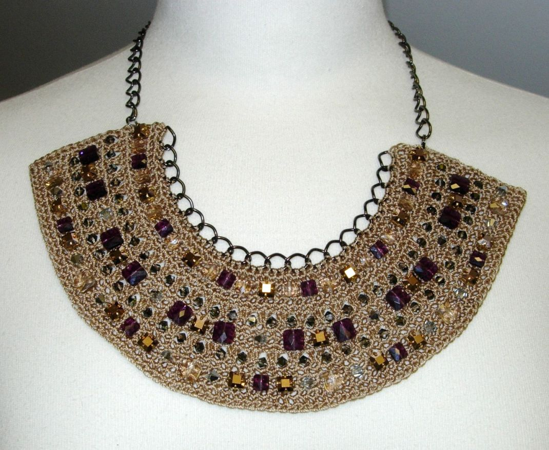Creative crochet bib necklace