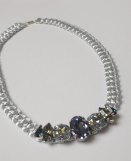 Swarovski and macrame necklace