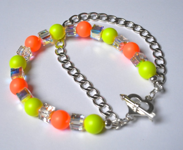 Swarovski Elements Neon Pearls and Cube crystals