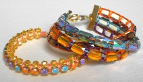 Mini beads and painted cup chain create colourful bracelets