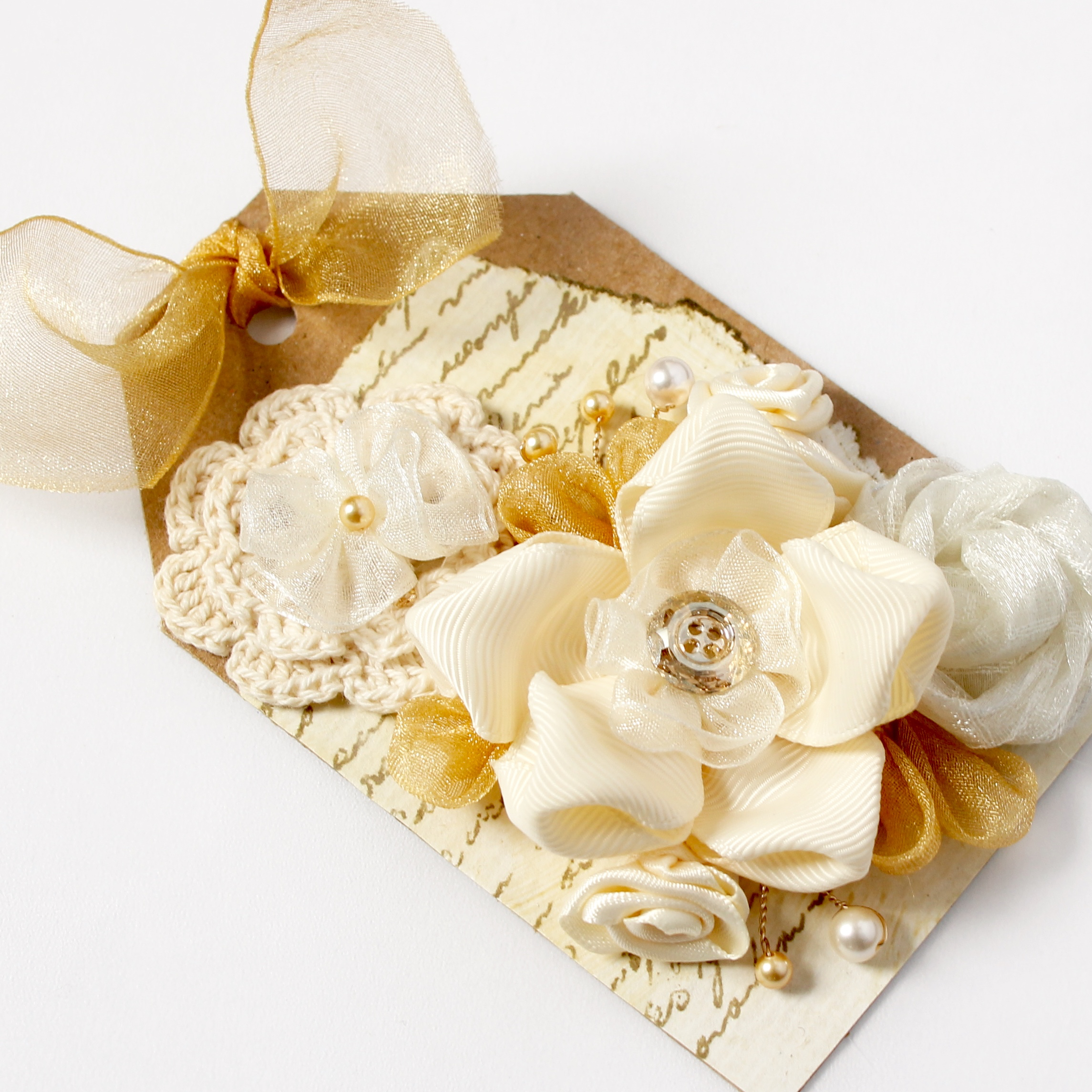 Fabric flower tag