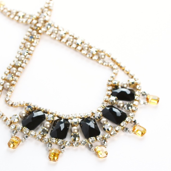 Swarovski Emerald Cut beads and pendants with cupchain make a fabulous statement necklace