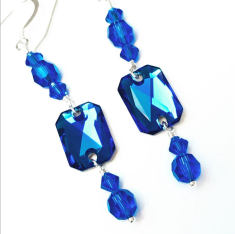 Make simple earrings with Emerald Cut sew-on stones in majestic blue